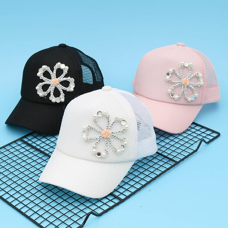 b0b2e82669f Children Beauty Baseball Cap Brand Hat Multi Color Rhinestone Floral Flower  Girl Boy Fashion Summer Mesh Caps Kids Cool Snapback Newsboy Cap Trucker Hat  ...