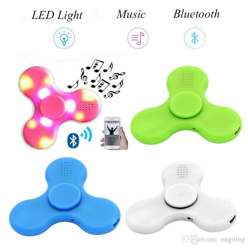 In Stock Fidget Spinner with Built in LED Bluetooth Speaker Hand Spinner Tri Finger Spinning Top Decompression Finger Toys