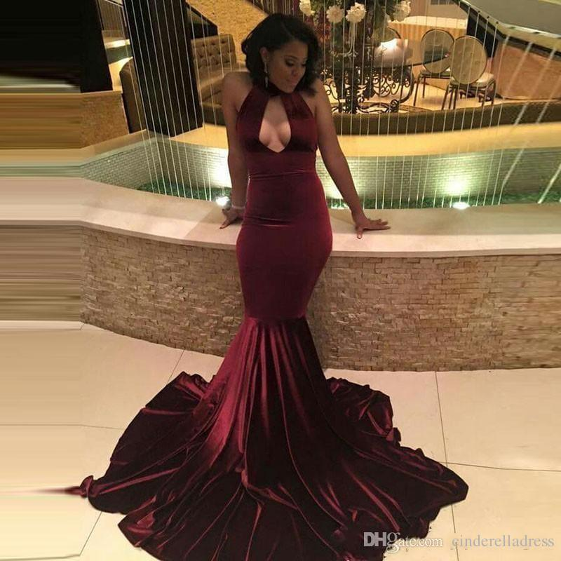 2017 African Burgundy Velvet Mermaid Prom Dresses Sexy Keyhole Neck Hollow  Out Evening Dresses Long Sweep Train Vintage Party Gowns BA4439 Prom Dresses  ... cf87594a6