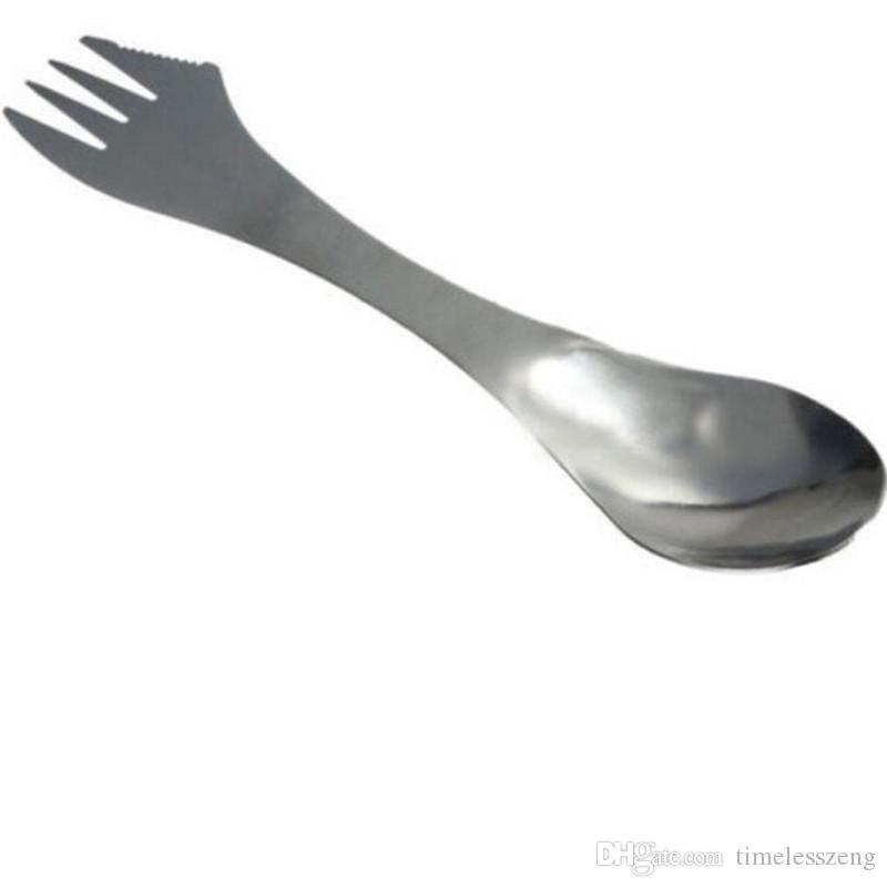 Knife fork spoon 3 in 1 tableware spork stainless steel utensil combo Kitchen outdoor picnic cutlery scoop/knife/fork set