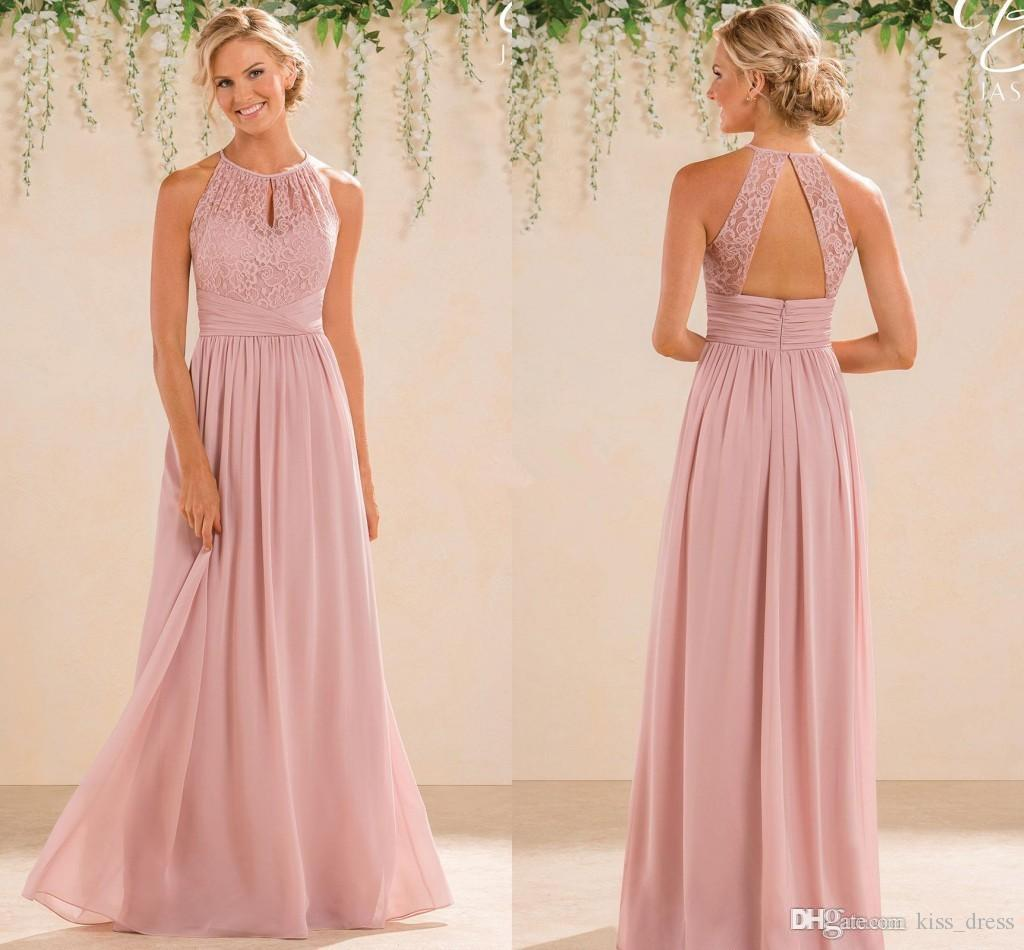 Blush chiffon long bridesmaid dresses 2017 hot sales new pleats blush chiffon long bridesmaid dresses 2017 hot sales new pleats floor length backless a line lace halter wedding evening party gowns b61 simple flower girl ombrellifo Gallery