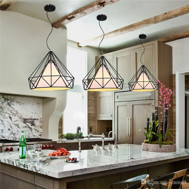 Vintage Chandelier Industrial Ceiling Light Bird Cage Pendant Lighting for Kitchen Dining Room Bar Hallway Art Diamond Pyramid Pendant Lamp