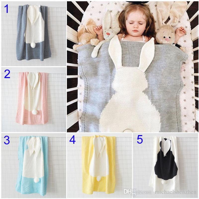 INS Baby Girls Cute rabbit Knitted Blankets Sleeping Swaddling Sleeping Bags Cute Children Blanket kids Bunny Swaddling B001