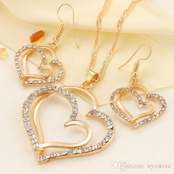 Luxury Wedding Necklace and Earring Set Fashion Gold Silver Crystal Charm Heart Jewelry