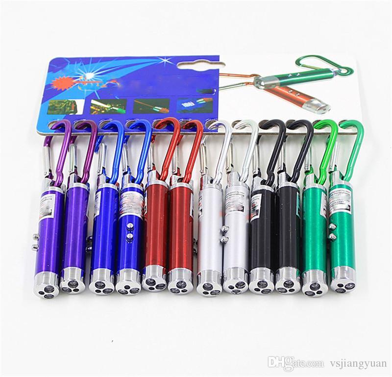 Nuovo arrivo 5mw multifunzionale Mini 3 in1 LED luce laser puntatore portachiavi torcia Mini torcia torcia soldi rivelatore di luce