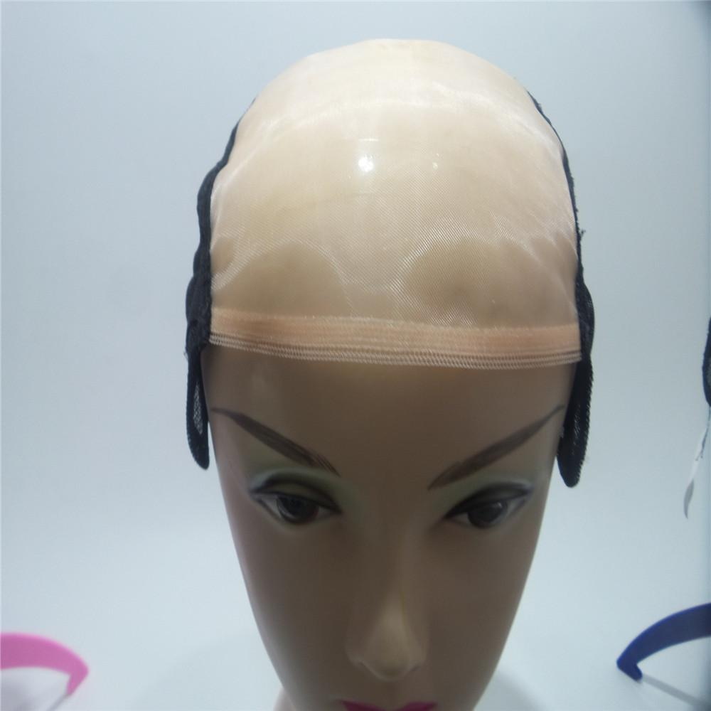 light color Mono Net Lace Front Wig Caps For Making Wigs With Adjustable Straps Black Color Glueless Weaving Cap With Anti-slip Strip Edge