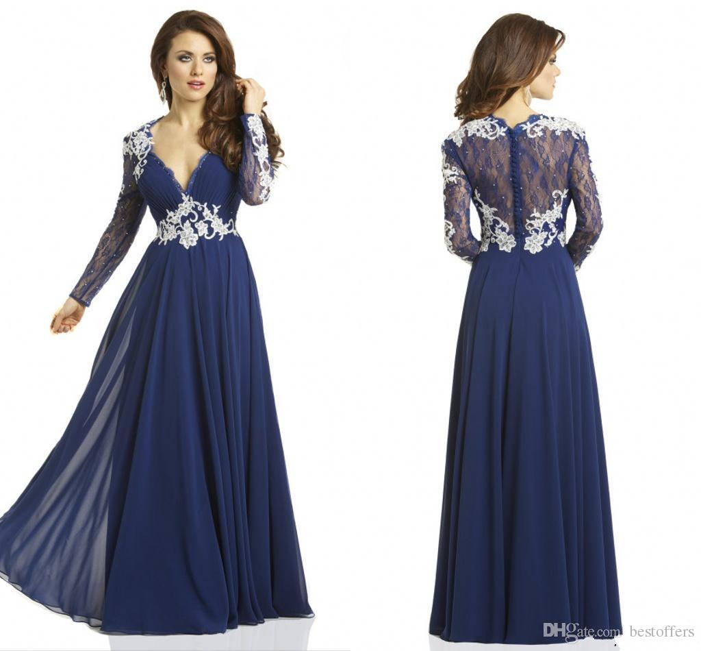 Long Sleeve Royal Navy Blue Evening Gown - Lucky Mature Pussy