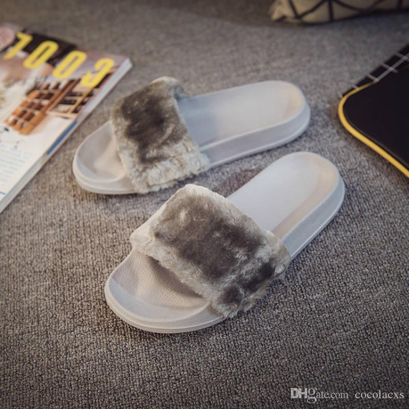 79b3d28e0 Leadcat Fenty Rihanna Shoes Women Slippers Indoor Sandals Girls Fashion  Scuffs Pink Black White Grey Fur Slides Without Box High Quality Cute Shoes  Leather ...