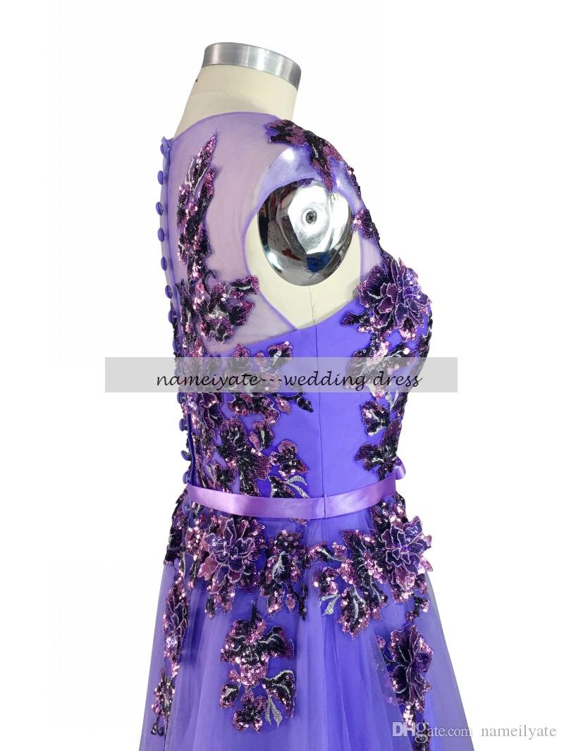 Lilac A Line Crew Covered Button Sweep Train/Brush Train Sleeveless Bow,Applique Evening Dresses