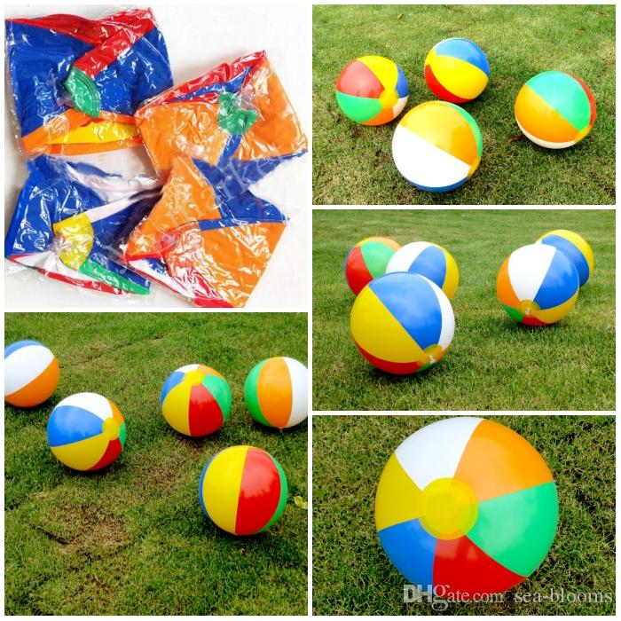 Summer 23cm Inflatable Beach Ball Rainbow Multi-colour Outdoor Water Sports Balloon Water Toys Party A Gift For Children C152Q