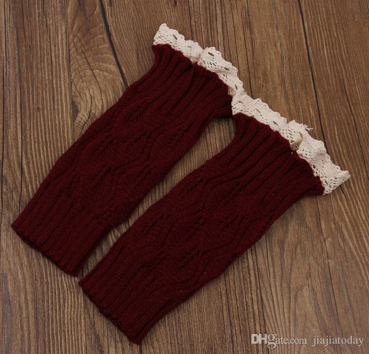 1 lote = 1 par = mulheres Crochet lace boot cuffs artesanal Knit perna mais quente Ballet lace Boot Cuff Polainas Meias de Natal Meias de Inicialização cobre 9 colo