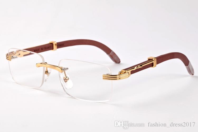 2020 neue Art und Weise Sportbüffelhornbrille Sonnenbrillen für Frauen Retro-Holz-randlose Brille klar schwarz braun Multilinsenfassung