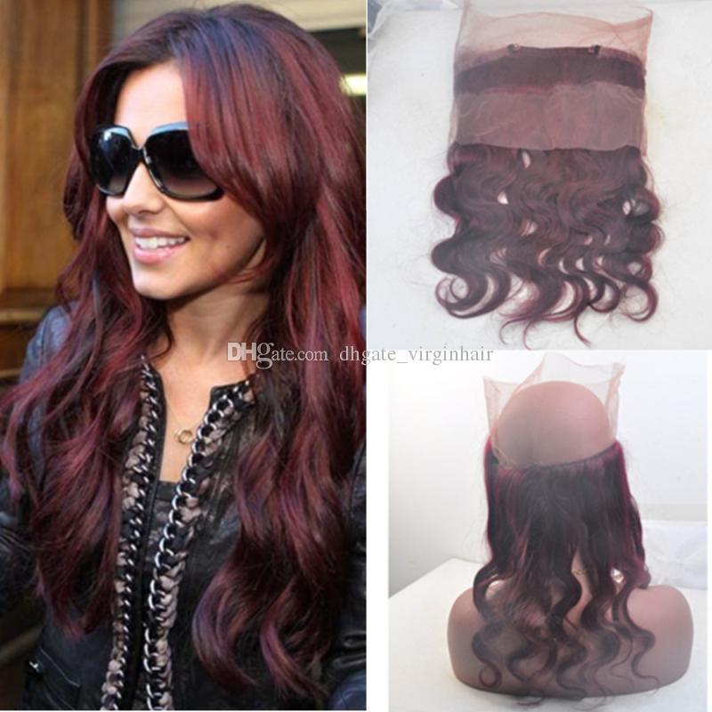 99j Burgundy Brazilian Virgin Human Hair Body Wave 360 Lace Frontal