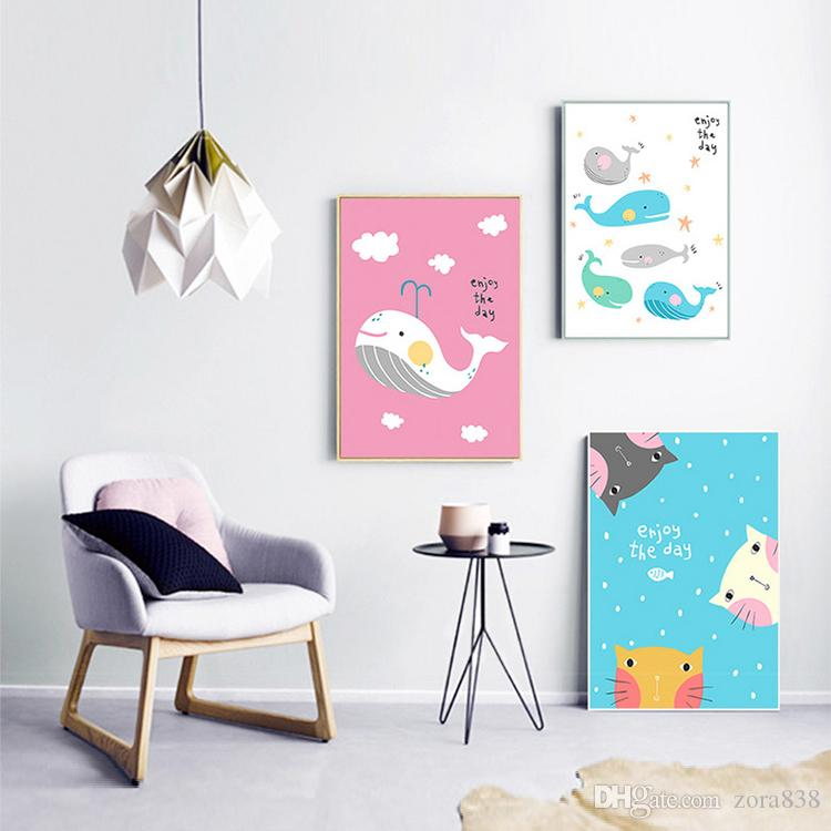 2018 Children S Room Cartoon Drawing Simple Living Sofa Background Wall Painting Bedroom Bedside No Frame From Zora838 503