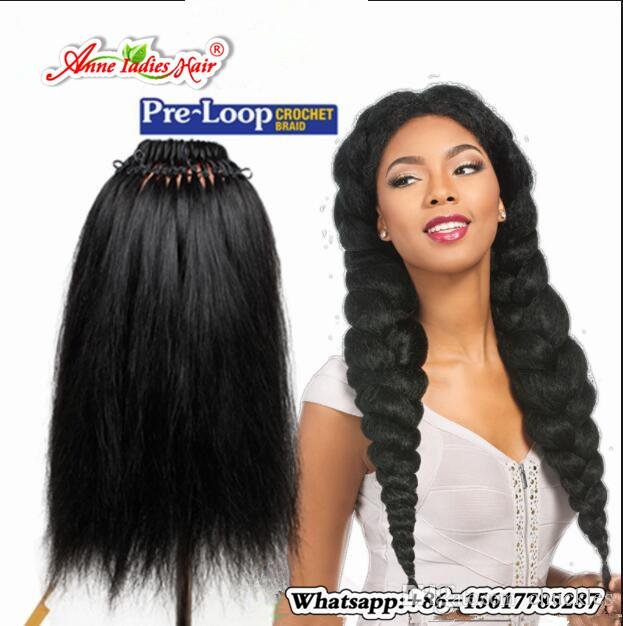 Pre Loop Yaki Straight Hair Crochet Braids Hairstyles 100g