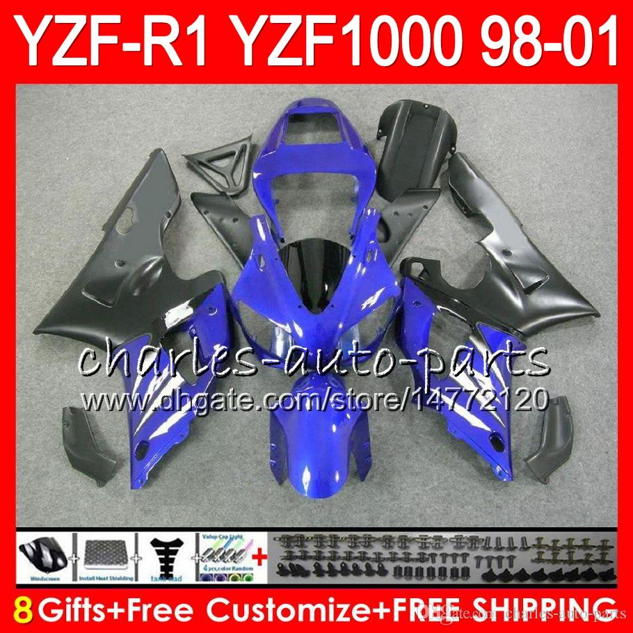 8Gift Body For YAMAHA YZF 1000 R 1 YZFR1 98 99 00 01 61HM22 blue black YZF1000 YZF R1 YZF-R1000 YZF-R1 1998 1999 2000 2001 Fairing