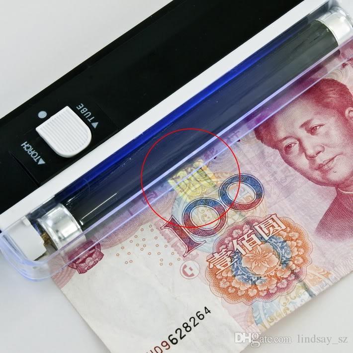 100 teile / los 2 In 1 UV Schwarzlicht Handheld Taschenlampe Tragbare Gefälschte Geld ID Detektor Lampe Licht Lichter Lampe Werkzeuge Werkzeug