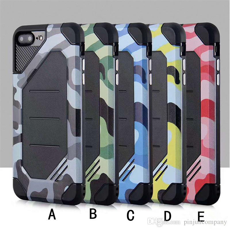 Pour Samsung Galaxy Note 8 S8 PLUS Pour iphone X 8 Huawei Y5 2017 Y5 III Camouflage Hybrid Armure Coque Dual Layer