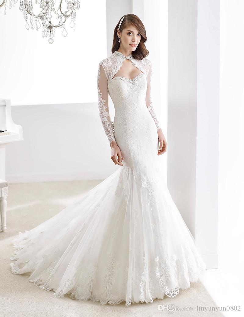 Wedding Dress Vintage Lace Open Back High Neck Keyhole Front Elegant ...
