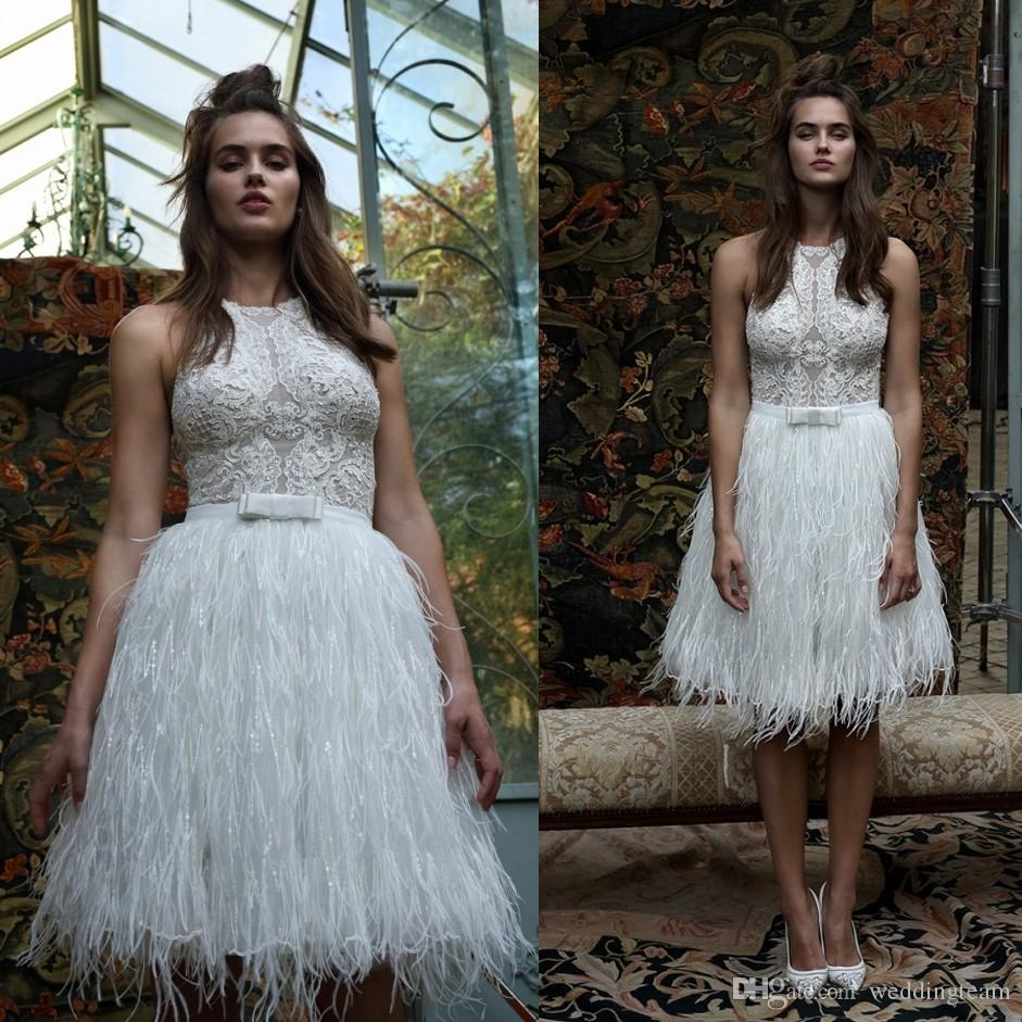 Discount Lihi Hod Feather Bohemian Short Wedding Dresses Beaded ...