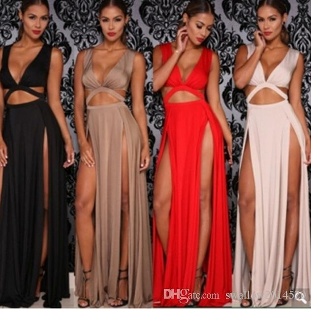2017 Cropped Deep V Neck Women Sexy Two Side High Slit Maxi Dress Double Split Cut Out Evening Prom Party Long Dress