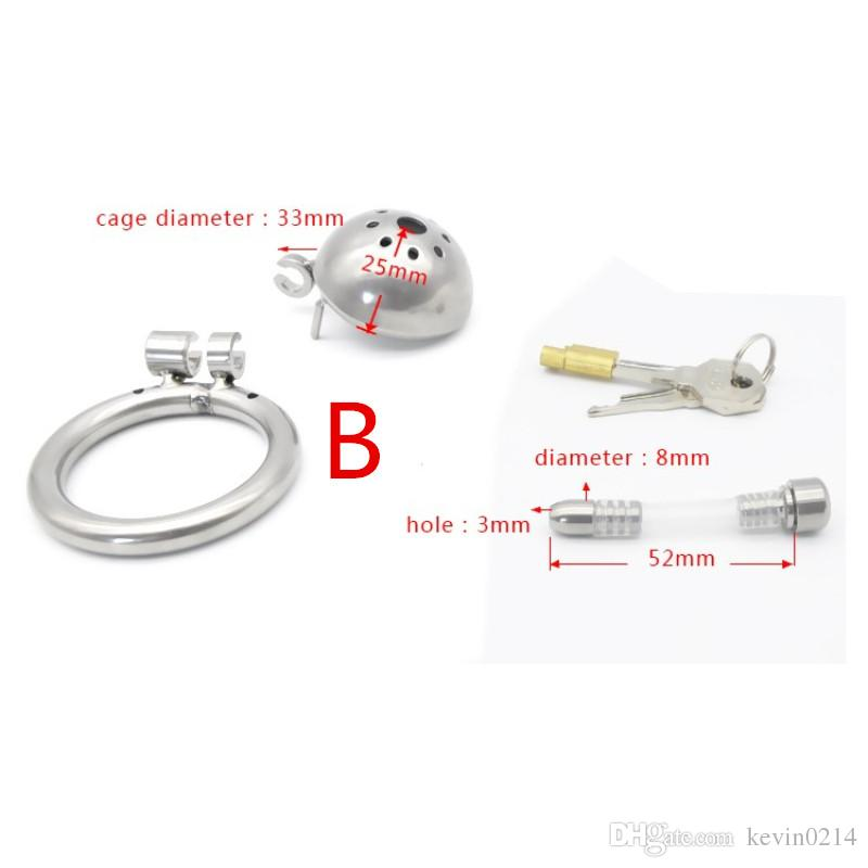 Male Chastity Cage Stainless Steel Cock Lock with Soft Urethral Sound Catheter Male Bondage Dick Cage CBT Sex Toys for Man G194