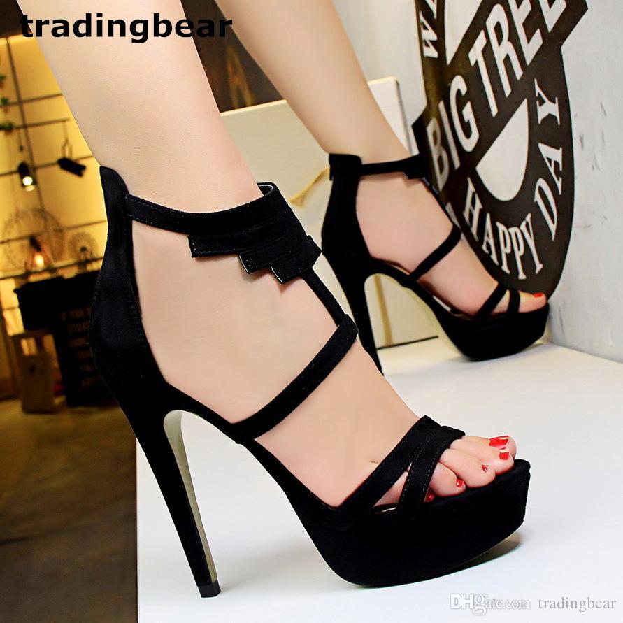 New Gladiator Sandals Ladies Black Red T Strappy Platform High Heels ... 17696dd1c