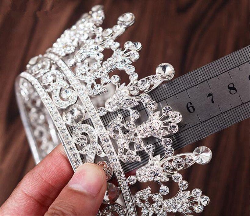 Toptan Kraliçe Taç Tiara Düğün Gelin Kristal Rhinestone Saç Aksesuarları Bandı Gümüş Başlığı Prenses Saç Takı Balo Takı