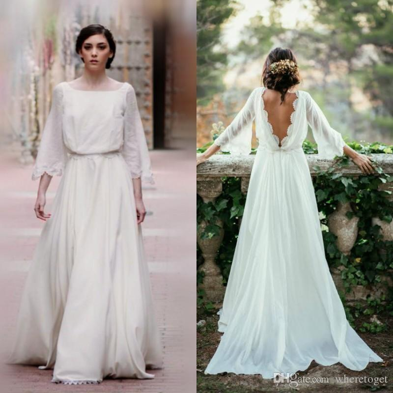 Discount Fall Country Wedding Dresses Square Neckline A Line Sweep Train Low Cut Back Ivory Chiffon Bell Sleeves Boho Bohemian Bridal Gowns 2017 Hot