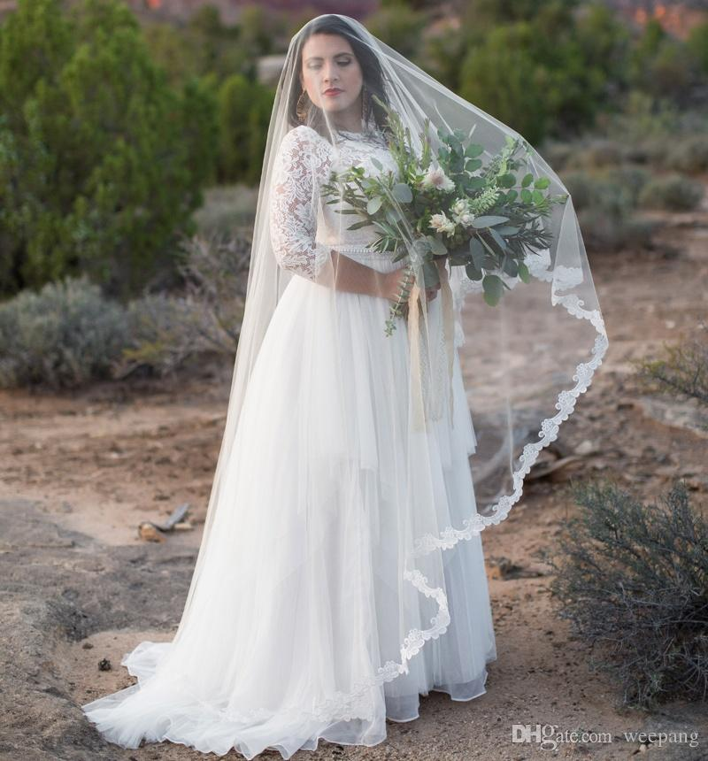 Elegant White Wedding Dresses 2018 A Line 3/4 Sleeve Lace Bodice ...