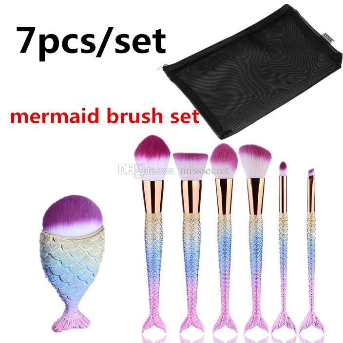 7 unids / set Pinceles de maquillaje Set Sirena Mango Diseño Big Fail Brush Blush Powder Sombra de ojos Eyeliner Blending Nose Fan Make Up Brush With Bag