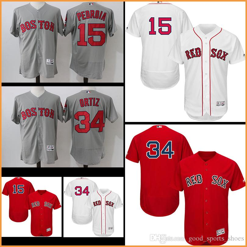 658eeb12d16 ... Authentic Collection Stitched MLB Jersey Stitched Men Boston Red Sox  Jerseys David Ortiz 15 Dustin Pedroia Majestic Home White Flex Base ...