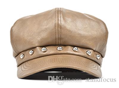 Fique foco mulheres Studs de couro falso Cabby Baker Boy Gatsby chapéu jornaleiro Cap moda feminina outono inverno preto marrom elegante fresco