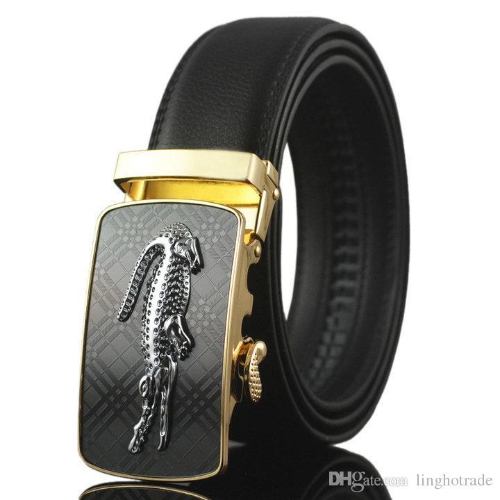 Cinturón de cuero genuino de los hombres del cuero genuino del zurriago de la manera cinturón para los hombres hebillas de los pantalones vaqueros de los hombres de Auotmatic de la alta calidad envío de la gota