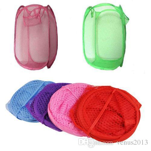 2016 New Mesh Fabric Foldable Pop Up Dirty Clothes Washing Laundry Basket Bag Bin Hamper Storage for Home Housekeeping Use