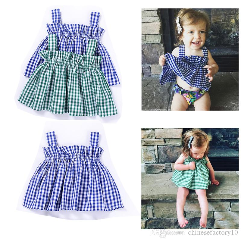 1027bc56e83 2019 INS Baby Girl Summer Grid Shirt Wear Out Girls Summer Clothing Baby  Girls Tank Top Cotton Shirt From Chinesefactory10