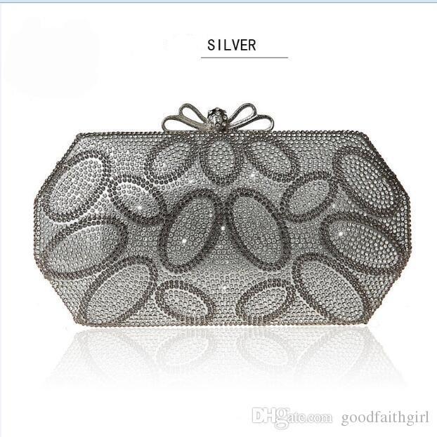 3 unids 2017 nueva llegada al por mayor única Diamante Diamante de Cristal bolsa de Noche de Embrague bolso Del Banquete de Boda bolso del hombro del hombro de la boda
