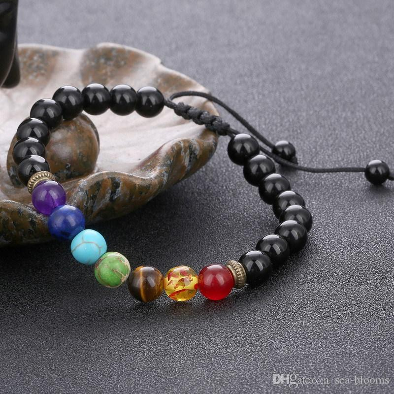 7 Chakra Bracelet Hommes Femmes Noir Lava la guérison du Reiki équilibre prière strand Yoga Pierre naturelle perles Bracelets Aroma B739S corde réglable