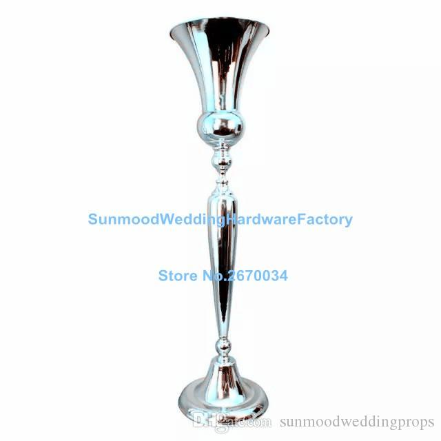 Fashion Tall And Large Unique Style Gold Trumpet Mental Vases