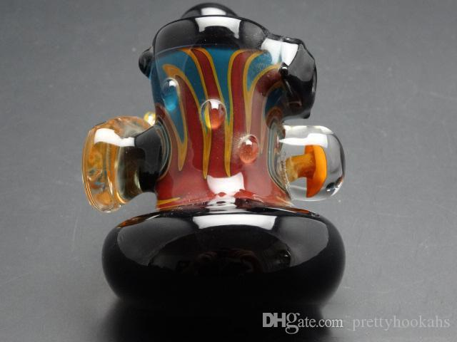 Tuyau de couleur mélangée fabriqué à la main en stock de type coudé de conduites d'eau pour fumer Hable Bubblers Narguilés Images Réelles