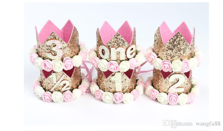 아기 소녀 생일 모자 신생아 꽃 소녀 머리띠 크라운 소녀 머리 장식 반짝이 아기 신생아 머리띠