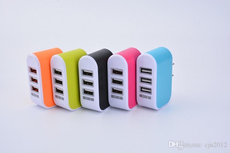 LED Light Triplo 3USB portas 3.1A USB doce cor parede carregador Plug Início AC US UE para Samsung s6edge mais