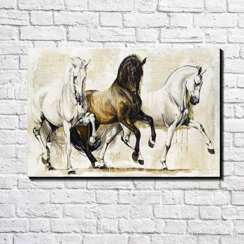 Modern European Oil painting Three Black and white Elegant Horse Print on Canvas Wall Art Decor Canvas Poster Pictures for Living Room