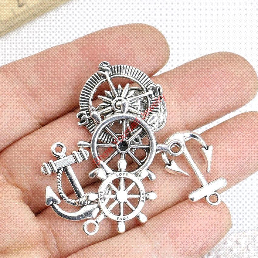 Mixed tibetan silver plated compass rudder anchor charms pendants mixed tibetan silver plated compass rudder anchor charms pendants for jewelry making diy handmade craft wholesale charm pendant pendants for jewelry making aloadofball Images