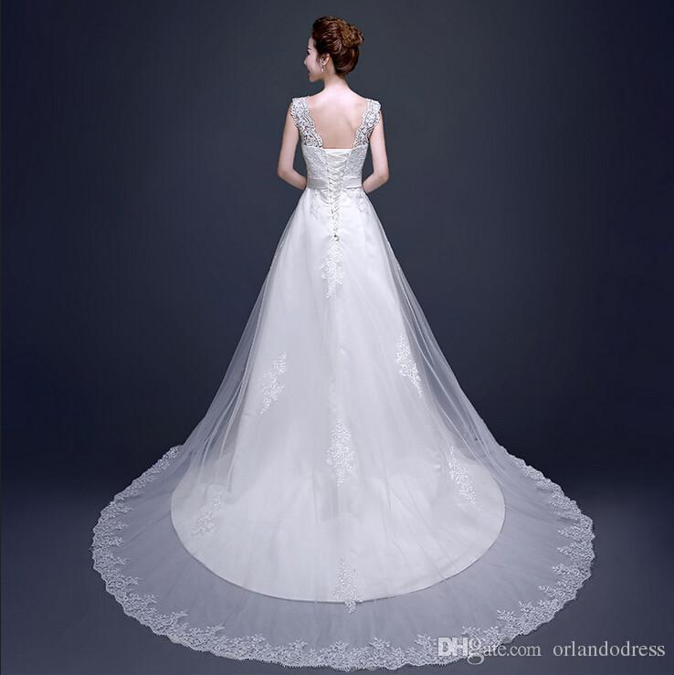 2017 Yeni Zarif Gelinlik Beyaz / Fildişi A-Line Örgün Elbise Romantik Prenses Vestido De Noiva Seksi Backless Gelin Kıyafeti