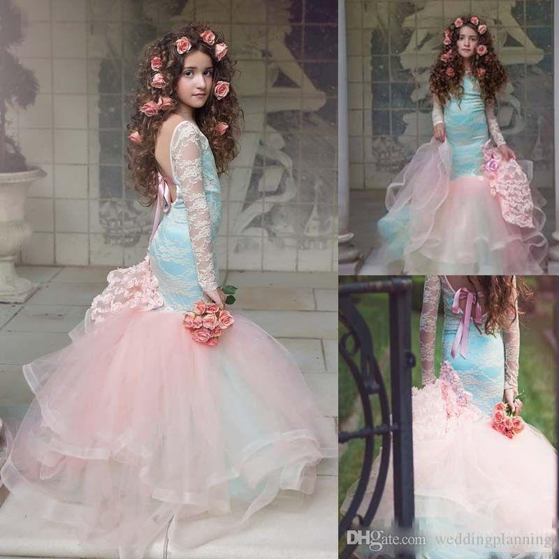 Elegant Long Sleeves Backless Blue And Pink Girls Pageant Gowns 2017 Lace Flower Girl Dress For Children Quinceanera Party Dresses 2k17