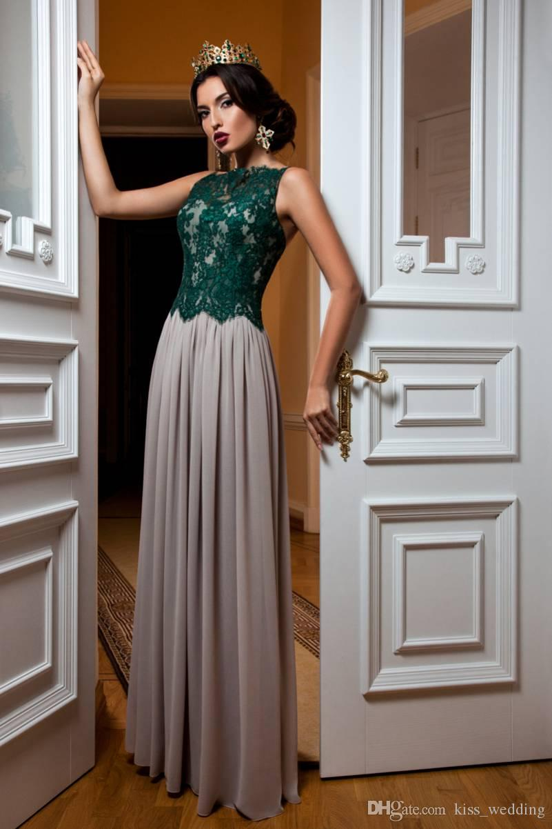 Modern Floor Length Evening Gown Mother of the Bride Dress Dark Green Lace Chiffon Grey Long Party Cocktail Gowns Illusion Back Sexy