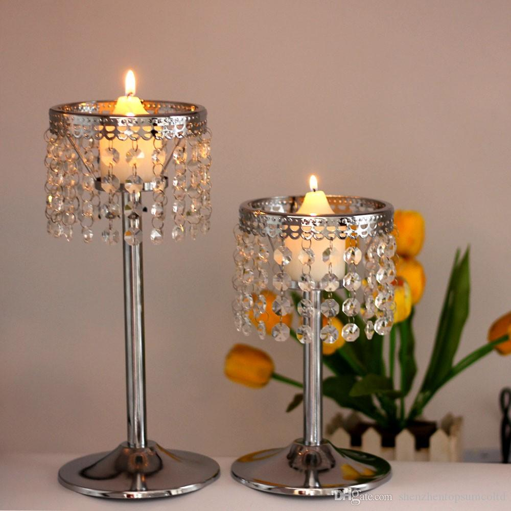Кристалл цепи подсвечник металл канделябры свадьба центральным декоративные марокканские фонари подсвечник votice свеча стенд