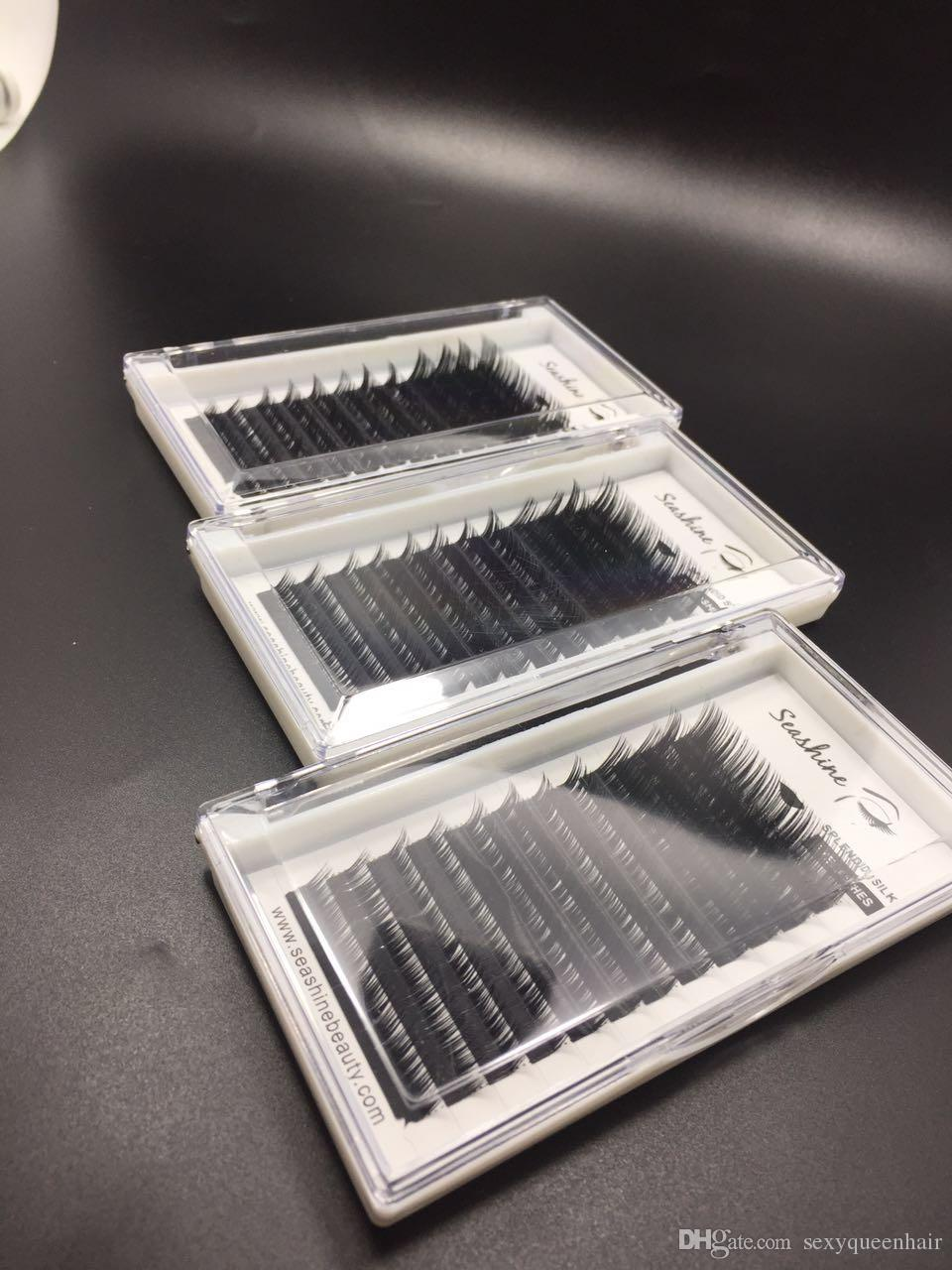 Top quality 1 tray All size 8-14mm mix Hand Made Individual false eyeylashes mink eyelashes top quality