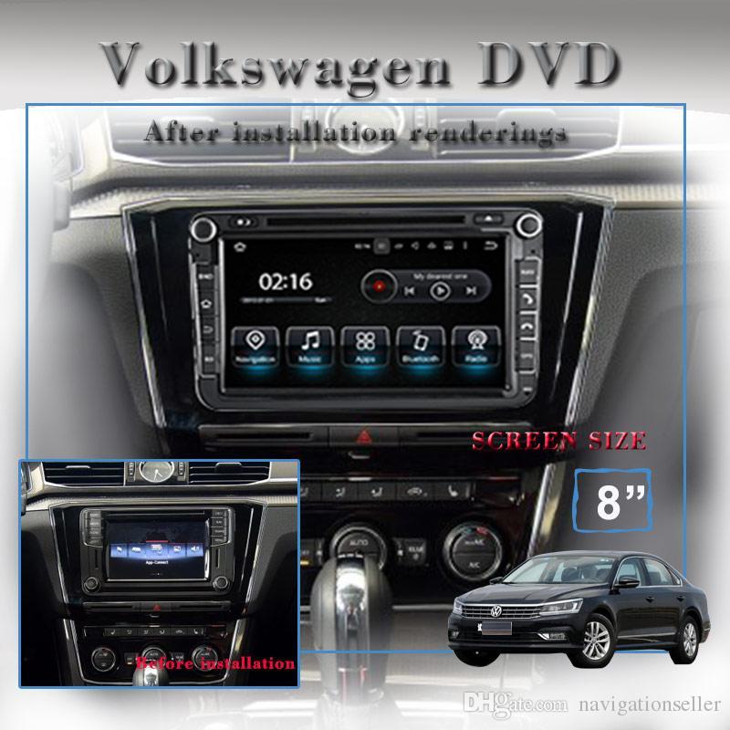 8.0 polegada 1024 * 600 tela HD Android9.0 Car Stereo Rádio gps Navegação Por DVD Do Carro Para VW Passat Golf Polo CC Jetta Skoda Assento